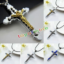 Gift Unisex's Men Women Silver Gold Stainless steel Cross Pendant Necklace Chain