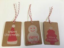 New Christmas gift tags kraft Xmas with string ties 10 or 25 packs 3 designs