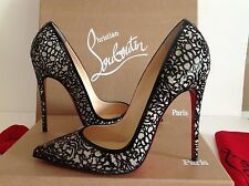 Christian Louboutin So Pretty 120 Patent Glitter Black Pump Shoes Sz 38.5 $1395