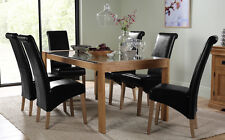 Tate 150cm Oak and Glass Dining Table and 4 6 Boston Chairs Set (Black)