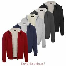 Mens Fleece Fur Bomber Hooded Jacket Coat Zip Up Hoodie Sweatshirt