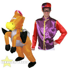 INFLATABLE HORSE RIDING FANCY DRESS PURPLE JOCKEY RIDE ON SUIT NOVELTY COSTUME
