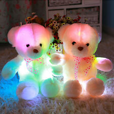 Teddy Bear Colorful Light Stuffed LED Plush Luminous Doll Gift Baby Toy Present