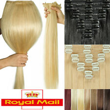 Excellent Thick Clip in Remy Human Hair Extensions Double Weft Full Head UK U686