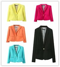 Women's Ladies One Button Slim Casual Business Blazer Suit Jacket Coat Outwear