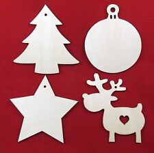Wooden Christmas Craft Shapes Wood Tags Star Reindeer Xmas Tree Bauble 5 Sizes