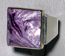 Charoite Cabochon Sterling Silver & 14kt Gold Handcrafted Ring