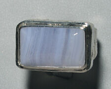 Agate - Blue Lace Agate Sterling Silver Handcrafted Ring