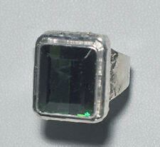 Tourmaline - Faceted Green Tourmaline Sterling Silver Handcrafted Ring