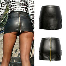 Hot Women Bodycon Sexy Solid Tight Short Faux Leather Straight Mini Skirt Dress