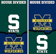 Michigan State U of M house divided set Cornhole Board Printed 3M Vinyl Wrap Set