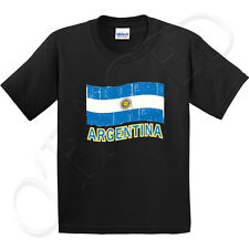 Argentina Flag Kid's T-shirt Distress Argentinian Cool Tee for Youth - 1068C