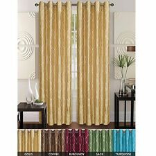 2 Faux Silk Geometric Embroidered Window Curtain Panel With Grommets, Rita 55x84