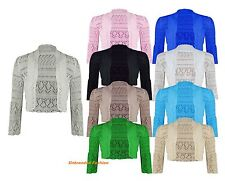 New Ladies Long Sleeve Crochet Bolero Shrug Womens Knitted Cardigan Top 8-14.