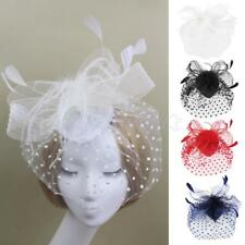 Elegant Feather Fascinator Hat Top Headband Cocktail Wedding Headpiece