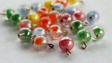 VINTAGE 6 WEST GERMANY MARBLE GIVRE GLASS BEADS 7mm PENDANTS • ASSORTED COLORS