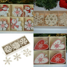 Wooden red white Nordic shabby chic Christmas decorations tree star snowflakes