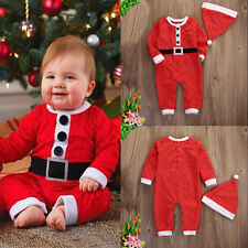 Christmas Baby Boys Santa Claus Costume Romper Hat Outfits Toddler Fancy Clothes