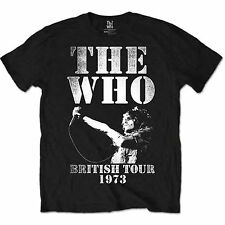 Official Unisex Men's THE WHO BRITISH TOUR 1973 Music Band LOGO T Shirt
