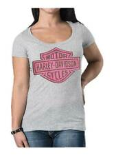 Harley-Davidson Women's Studded Lace Bar & Shield Short Sleeve Tee, Heather Gray