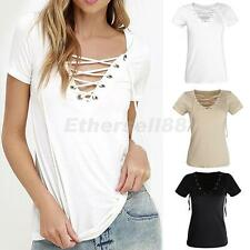 Sexy Women V-Neck Hot Summer Casual Lace Up Tee Hollow Out Loose Tops T Shirt