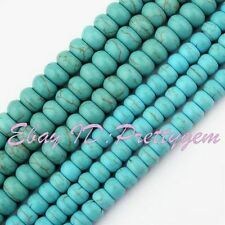"Rondelle Shape Dye Blue Turquoise Gemstone Spacer Beads 15"" 4x6mm 5x8mm Pick"