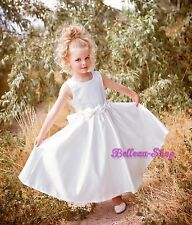 Pearls Satin Formal Dresses Up Wedding Flower Girl Pageant Party Size 2T-8 FG082