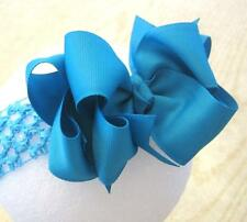 Turquoise Blue Boutique Hair Bow Baby Girl Clip Toddler