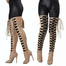 Womens Fashion Roman Open Toe Hollow Over Knee Thigh High Boots High Heels Shoes