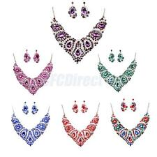 Fashion Crystal Women Bib Pendant Choker Statement Necklace Set Earrings Jewelry