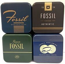 New Original FOSSIL Mens Womens Empty Watch Tin Box Presentation Storage Case