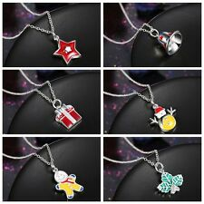 Women Santa Claus Christmas Necklace Bell Snowman Party Pendant Necklace Jewelry