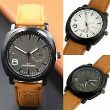 New Wrist Watches Men's Sports Military Quartz Black Faux  Leather Watch Strap