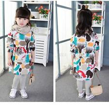 Baby Kids Girls Spring Autumn Long Sleeve Shirt Dress Toddler Cute Cartoon Dress