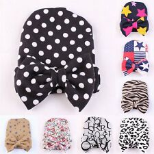 Newborn Baby Girls Toddler Stripe Hospital Cap Infant Comfy Bowknot Beanie Hat S