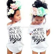 Toddler Kids Baby Girls Short Sleeve T-shirt Tops Dress Clothes 2-7Y White Black
