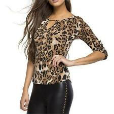Vogue Sexy Women Leopard Long Sleeve Tops Blouse Pullover V-neck T-shirts Jumper