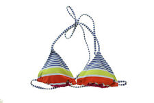 Roxy New Multi Juniors Striped Triangle Bikini Top  M $42