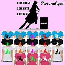 PERSONALIZED BARREL RACING Western Horse Saddle Cowgirl Boots Hat Custom T-Shirt
