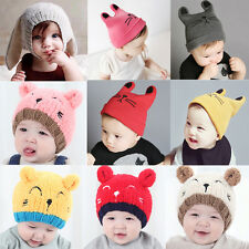 Warm Soft Toddler Baby Girls Boys Crochet Earflap Beanie Hat Newborn Kids Cap