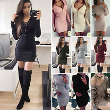 Sexy Womens Long Sleeve Knitted Sweater Pullover Jumper Slim Bodycon Mini Dress