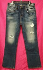 NWT Abercrombie & Fitch Mens Dark Wash Destroyed Boot Jeans ~ 32 x 34
