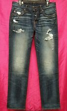 NWT Abercrombie & Fitch Mens Slim Straight Dark Wash Destroyed Jeans ~ 32 x 34