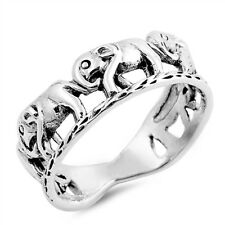 ¦925 Sterling Silver Plain Open Elephant Band Ring Size 6,7,8,9,10 »U84