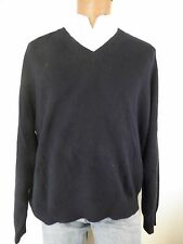 mens sweater-Alexander Julian-XL-Navy blue-vneck-100% cashmere