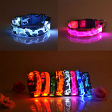 LED Dog Safety Pet Night Light Adjustable Cat Nylon Camouflage Collar 7Color