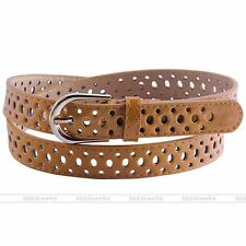 Hollow Faux Leather Belt Alloy Pin Buckle Waistband Jeans 51'' Waist Strap Camel