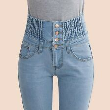2016 Jeans Womens High Waist Elastic Skinny Denim Long Pencil Pants Plus Size 40