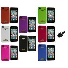 Credit Card ID Snap-On Rubberized Hard Case Cover+Mini Stylus for iPhone 4S 4G 4