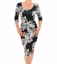 New Black and White Floral Shift Dress - Knee Length